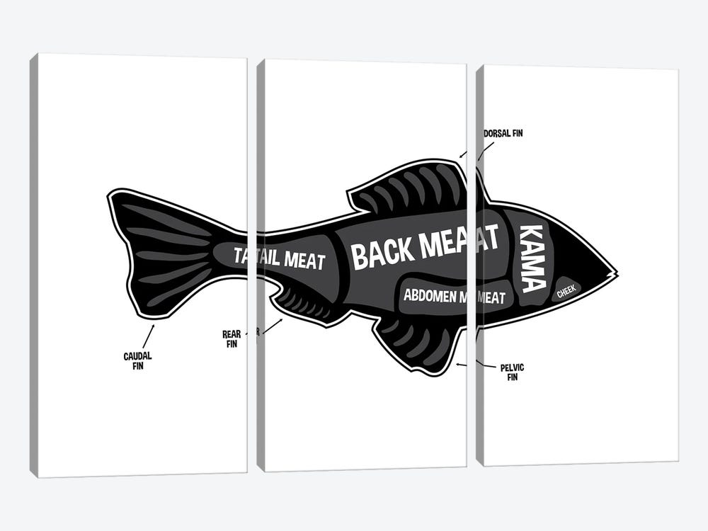 Fish Butcher Print by Benton Park Prints 3-piece Canvas Art Print
