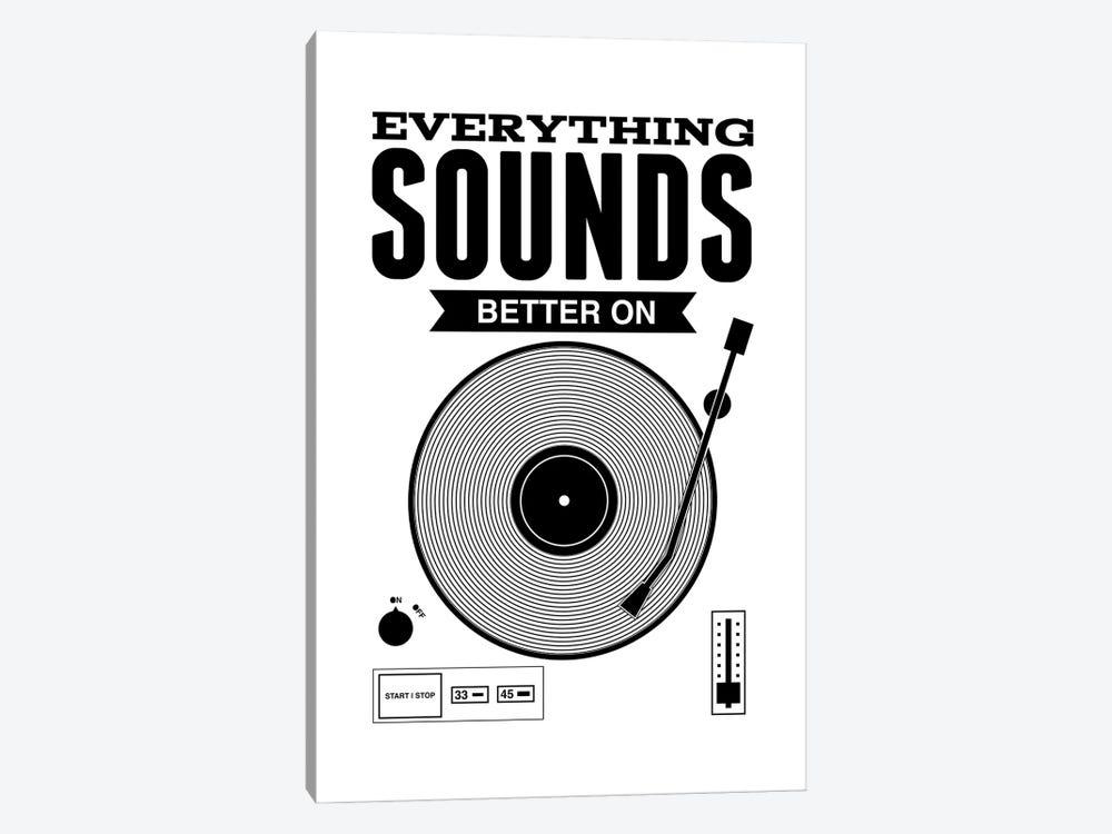 Everything Sounds Better On Vinyl - White by Benton Park Prints 1-piece Canvas Art Print