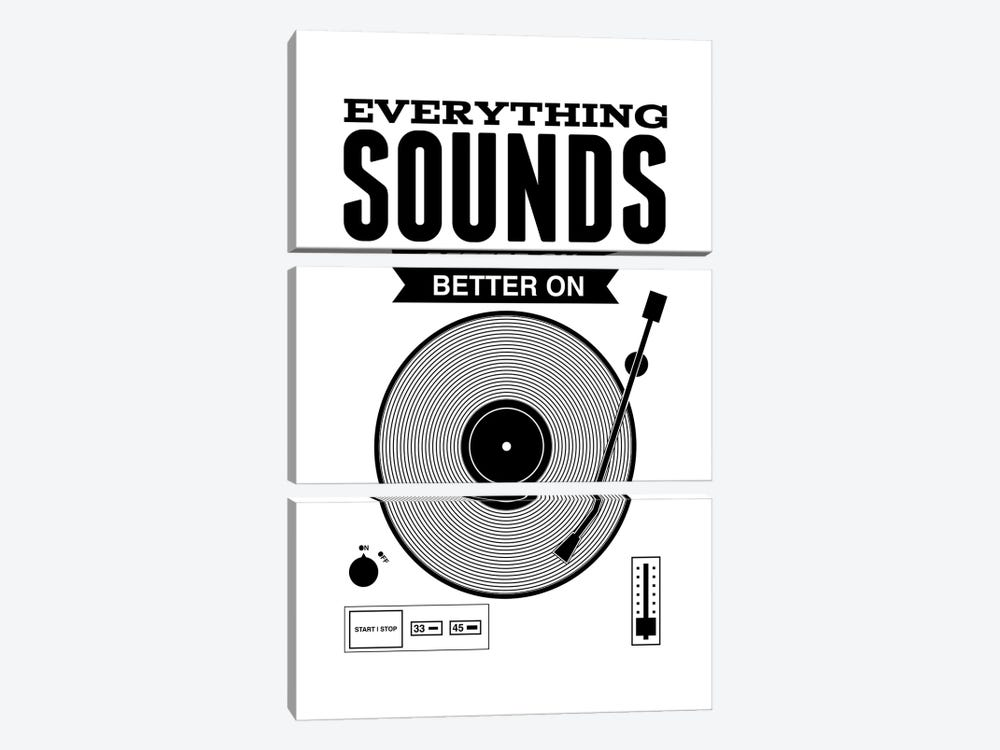 Everything Sounds Better On Vinyl - White by Benton Park Prints 3-piece Art Print