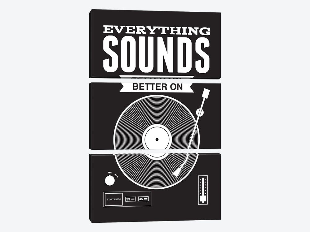 Everything Sounds Better On Vinyl - Black by Benton Park Prints 3-piece Canvas Wall Art