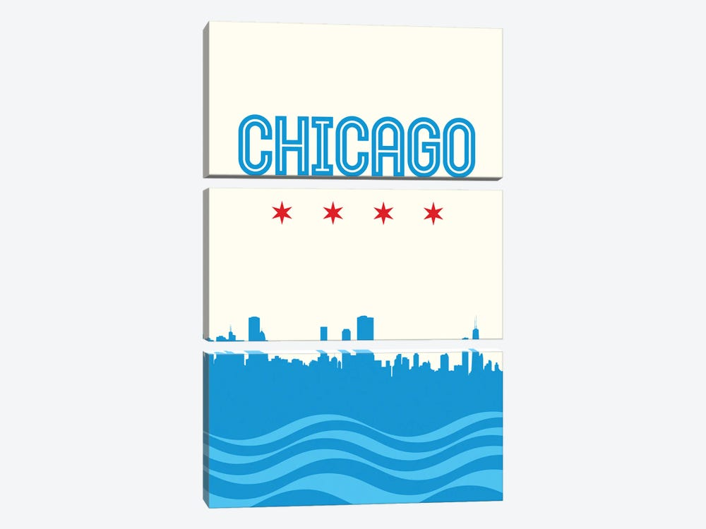 Chicago Flag Skyline by Benton Park Prints 3-piece Canvas Wall Art