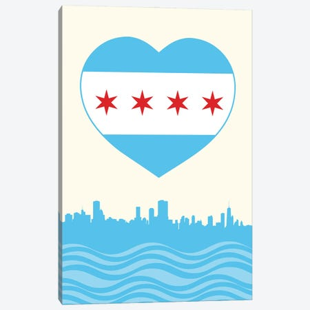 Chicago Flag Heart Canvas Print #BPP138} by Benton Park Prints Canvas Print