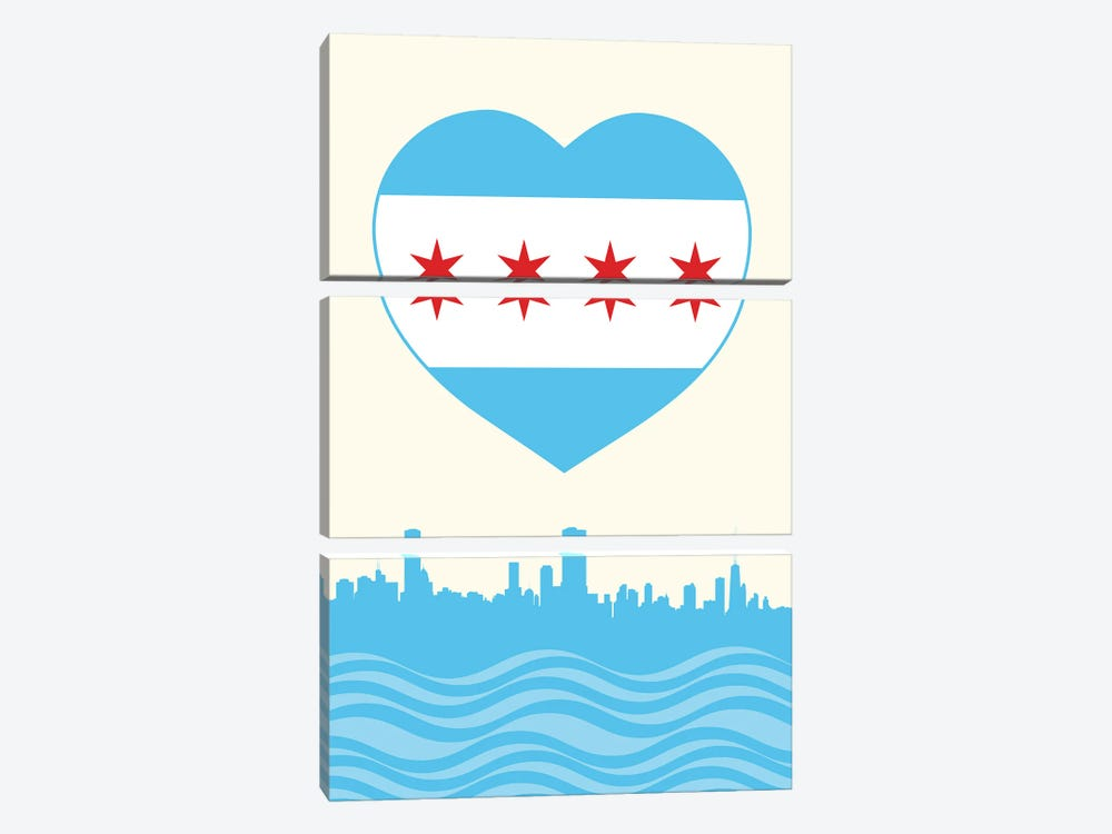 Chicago Flag Heart 3-piece Canvas Print