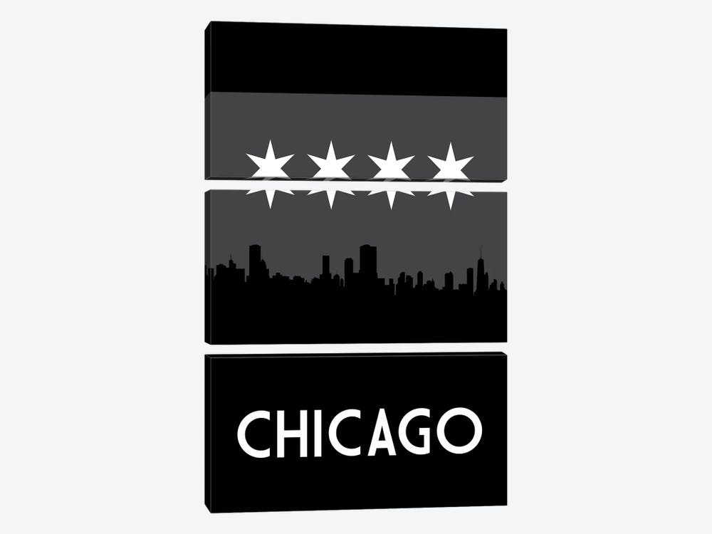 Chicago Skyline At Night by Benton Park Prints 3-piece Canvas Wall Art