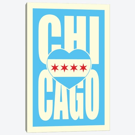 Chicago Typography Heart Canvas Print #BPP140} by Benton Park Prints Canvas Artwork