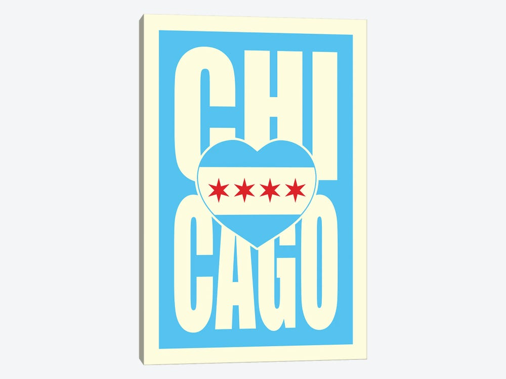 Chicago Typography Heart by Benton Park Prints 1-piece Canvas Wall Art