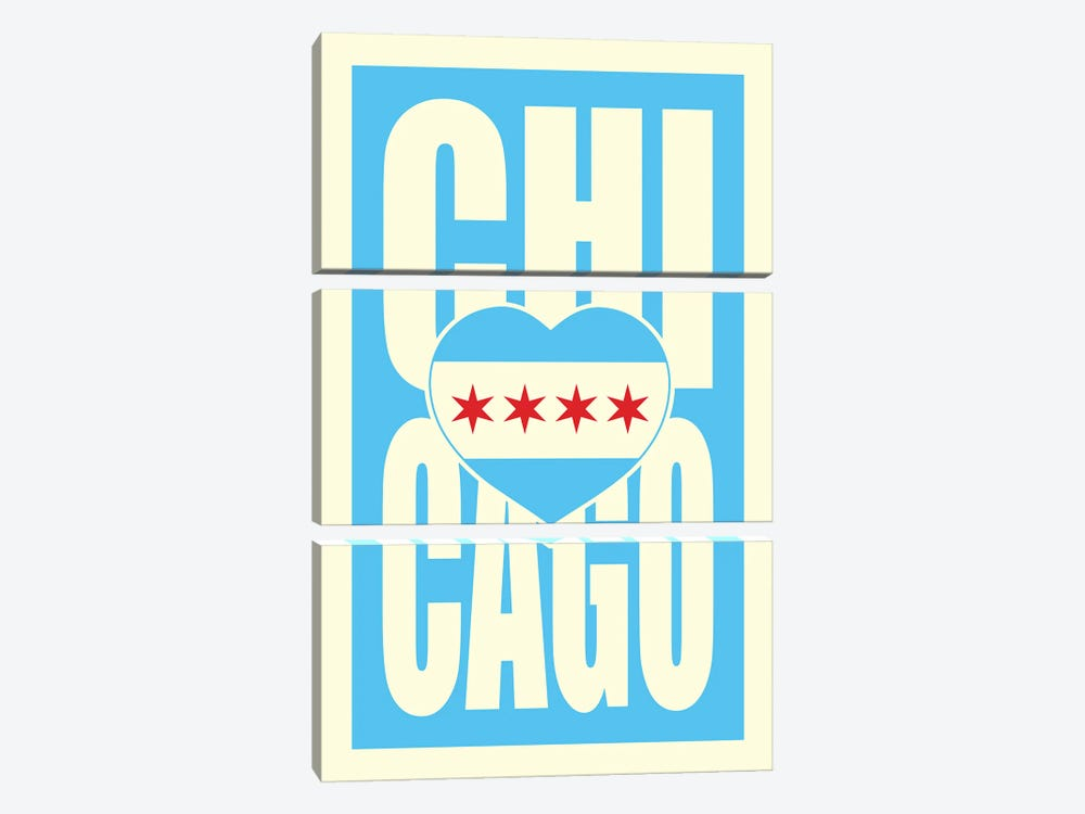 Chicago Typography Heart by Benton Park Prints 3-piece Canvas Wall Art