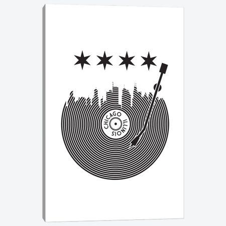 Chicago Record Skyline Canvas Print #BPP142} by Benton Park Prints Canvas Artwork