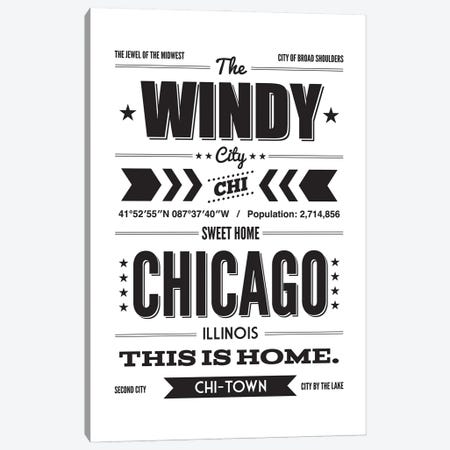Chicago: This Is Home - Black Ink Canvas Print #BPP149} by Benton Park Prints Canvas Wall Art