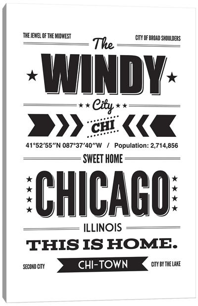 Chicago: This Is Home - Black Ink Canvas Art Print