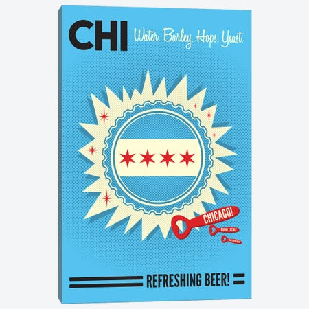 Chicago Refreshing Beer Canvas Print #BPP152} by Benton Park Prints Canvas Art Print