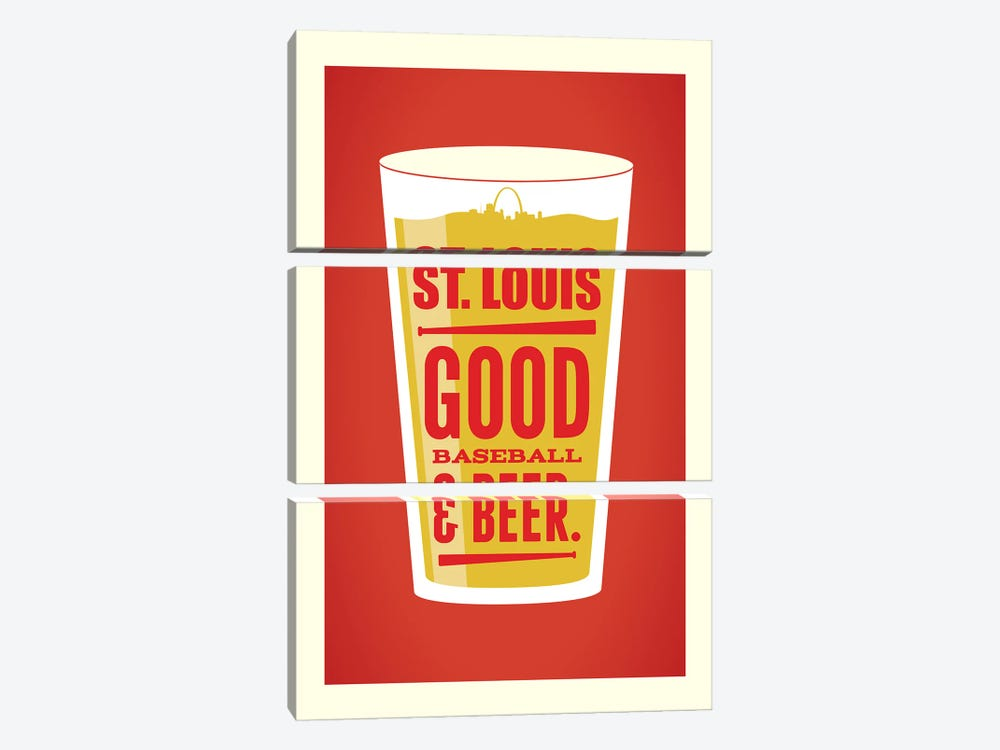 St. Louis: Good Baseball & Beer by Benton Park Prints 3-piece Canvas Art