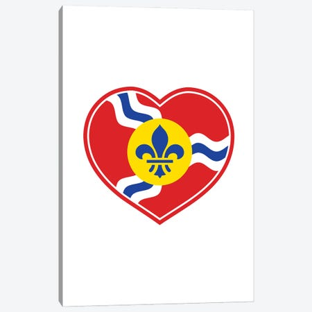 St. Louis Flag Heart Canvas Print #BPP159} by Benton Park Prints Canvas Art Print