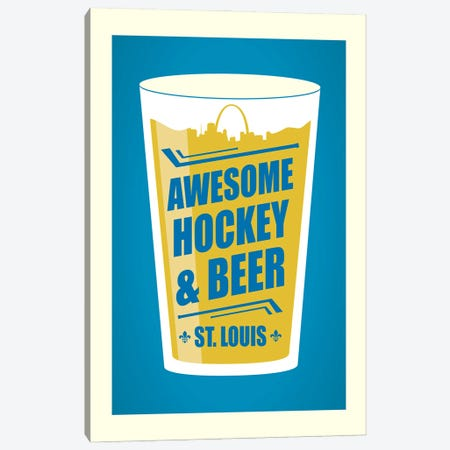St. Louis: Awesome Hockey & Beer Canvas Print #BPP160} by Benton Park Prints Canvas Wall Art