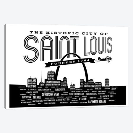 St. Louis Neighborhoods Skyline Canvas Print #BPP161} by Benton Park Prints Canvas Wall Art