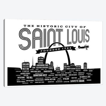St. Louis Neighborhoods Skyline Canvas Print #BPP161} by Benton Park Prints Canvas Wall Art