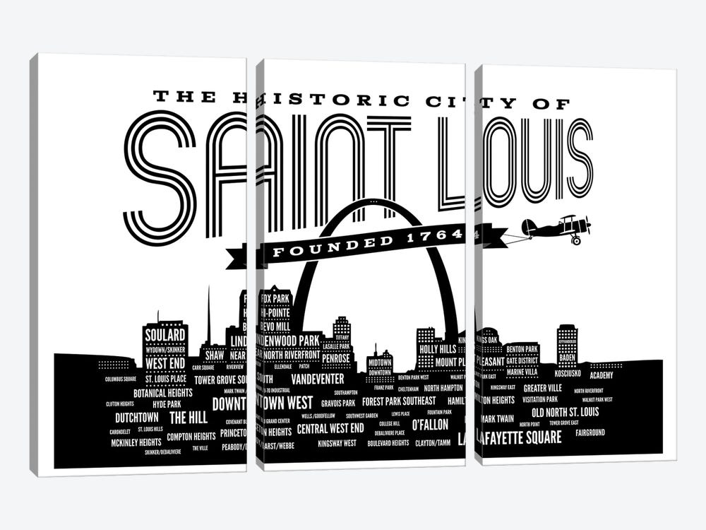St. Louis Neighborhoods Skyline 3-piece Canvas Art Print