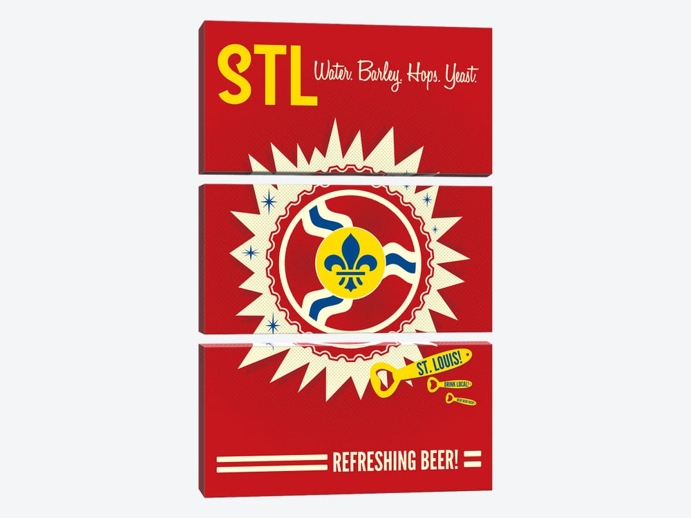 St. Louis Refreshing Beer by Benton Park Prints 3-piece Canvas Print