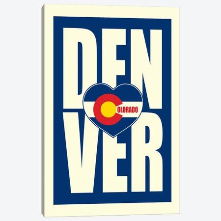 Denver Typography Heart Canvas Print #BPP172} by Benton Park Prints Canvas Art Print