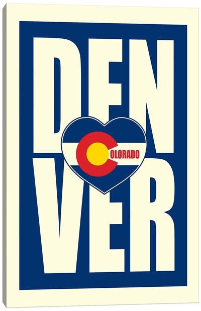 Denver Typography Heart Canvas Art Print