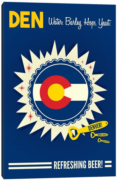 Denver Refreshing Beer Canvas Art Print