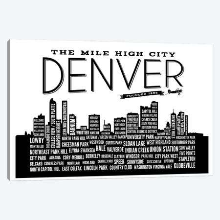 Denver Neighborhoods Skyline Canvas Print #BPP174} by Benton Park Prints Canvas Wall Art