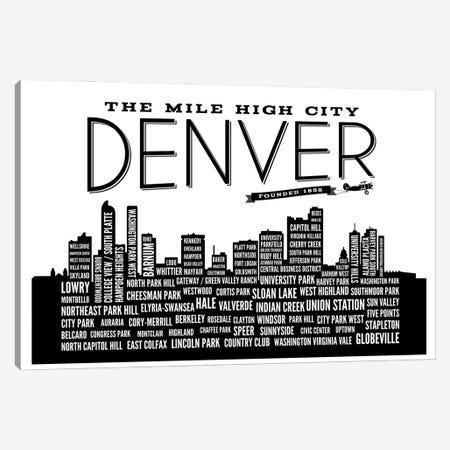 Denver Neighborhoods Skyline Canvas Print #BPP174} by Benton Park Prints Canvas Wall Art