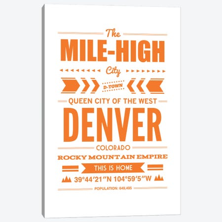 Denver Typography Canvas Print #BPP175} by Benton Park Prints Canvas Artwork