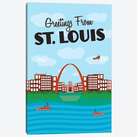 Greetings From St. Louis 3-Piece Canvas #BPP183} by Benton Park Prints Canvas Artwork