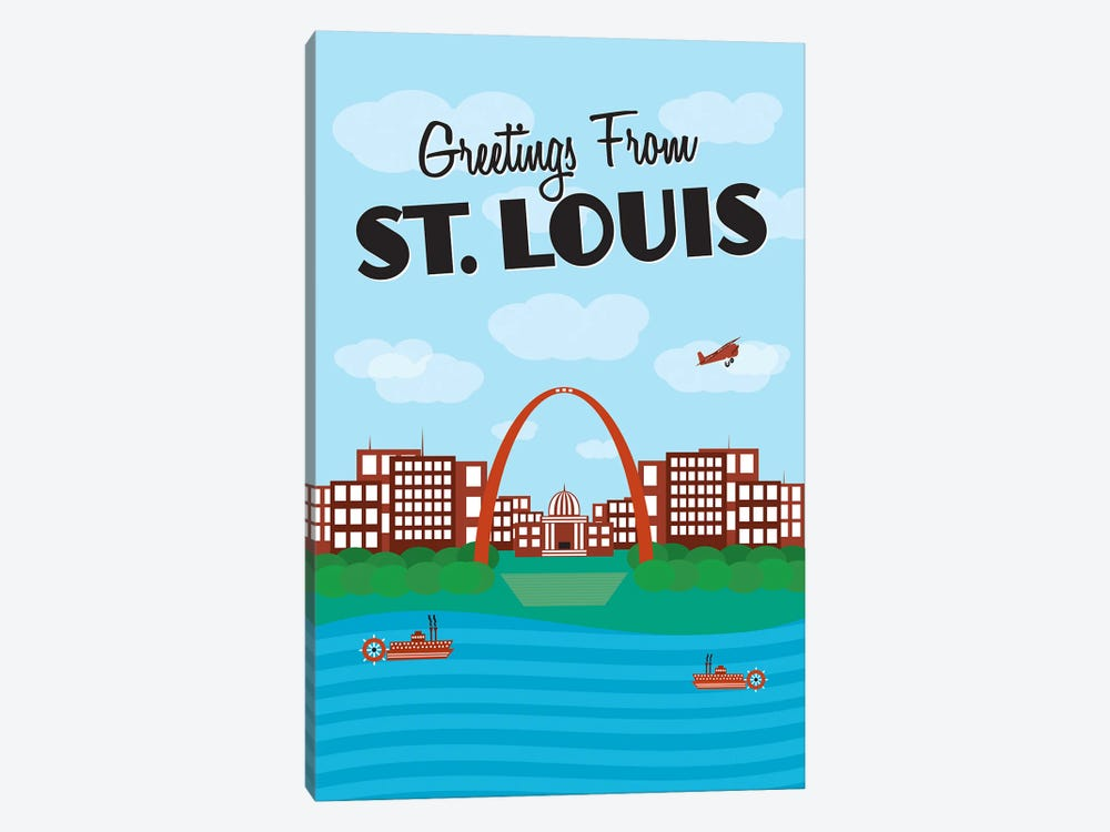 Greetings From St. Louis by Benton Park Prints 1-piece Canvas Print
