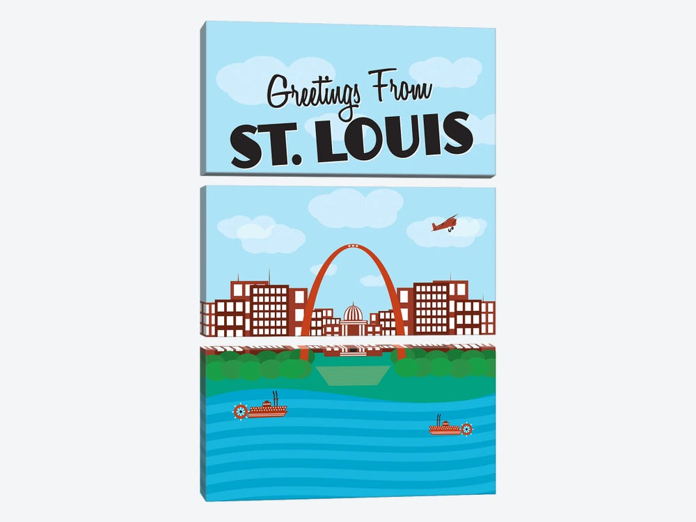 Greetings From St. Louis by Benton Park Prints 3-piece Canvas Art Print