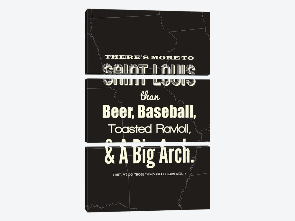 There's More To St. Louis - Dark by Benton Park Prints 3-piece Canvas Art Print