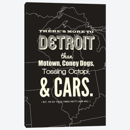 There's More To Detroit - Dark Canvas Print #BPP195} by Benton Park Prints Canvas Art