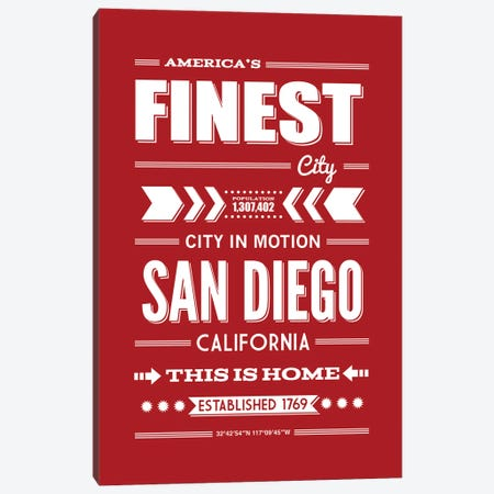 San Diego Typography Canvas Print #BPP203} by Benton Park Prints Art Print