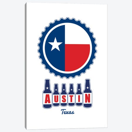 Austin Beer Cap Texas Flag Canvas Print #BPP205} by Benton Park Prints Canvas Artwork