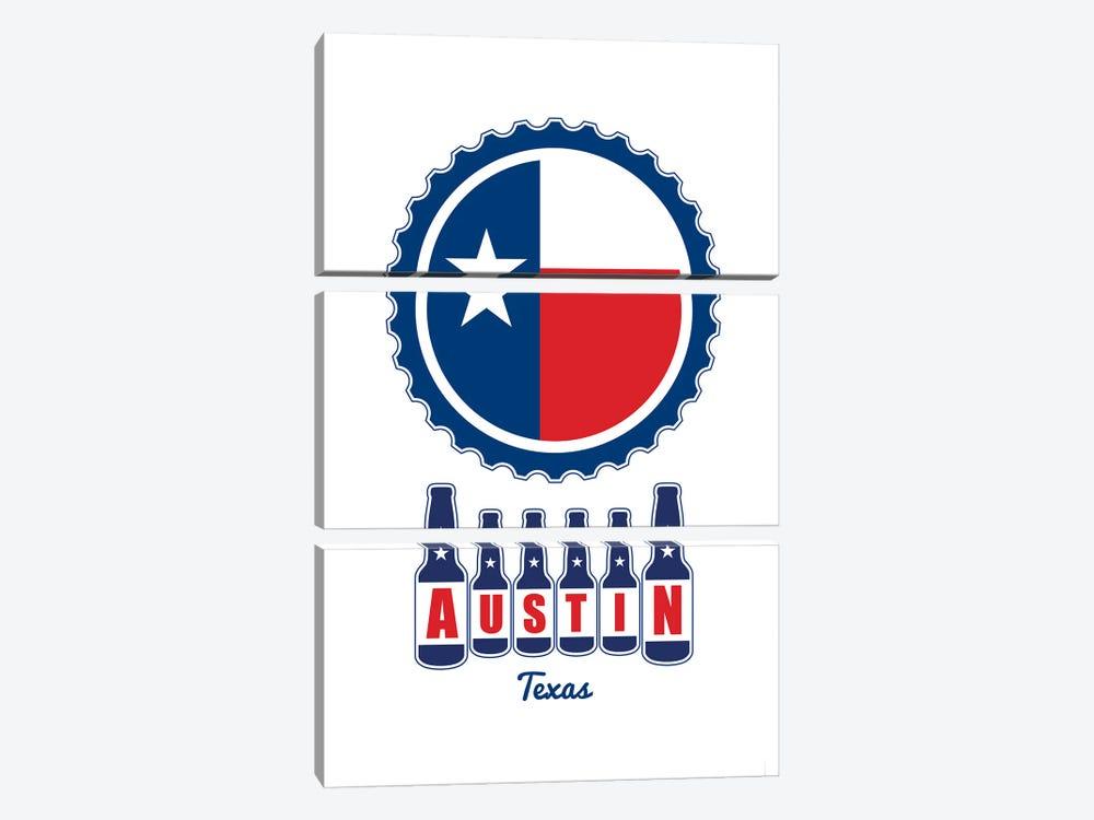 Austin Beer Cap Texas Flag by Benton Park Prints 3-piece Canvas Art Print