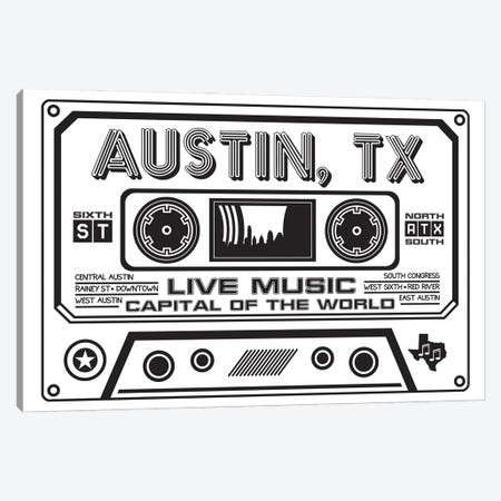 Austin Texas Cassette Canvas Print #BPP206} by Benton Park Prints Canvas Artwork