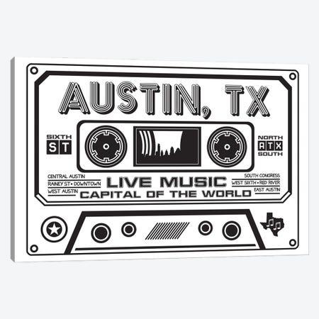 Austin Texas Cassette Canvas Print #BPP206} by Benton Park Prints Canvas Artwork