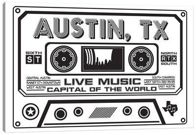 Austin Texas Cassette Canvas Art Print