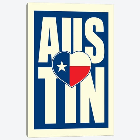 Austin Typography Heart Canvas Print #BPP208} by Benton Park Prints Canvas Print