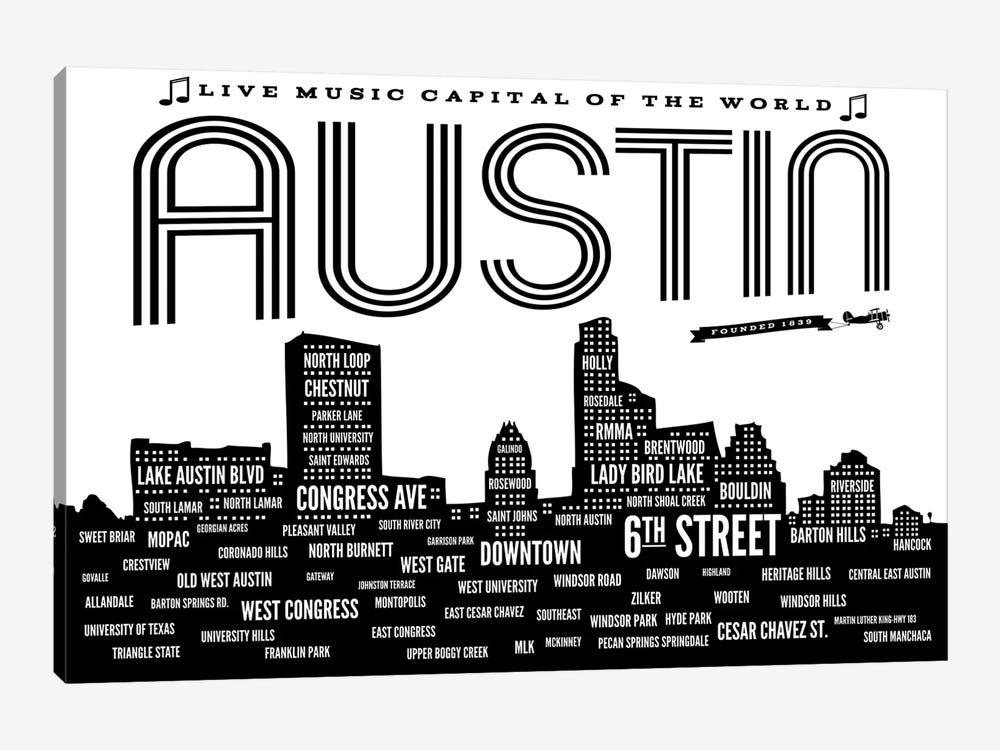 Austin Neighborhoods by Benton Park Prints 1-piece Canvas Print