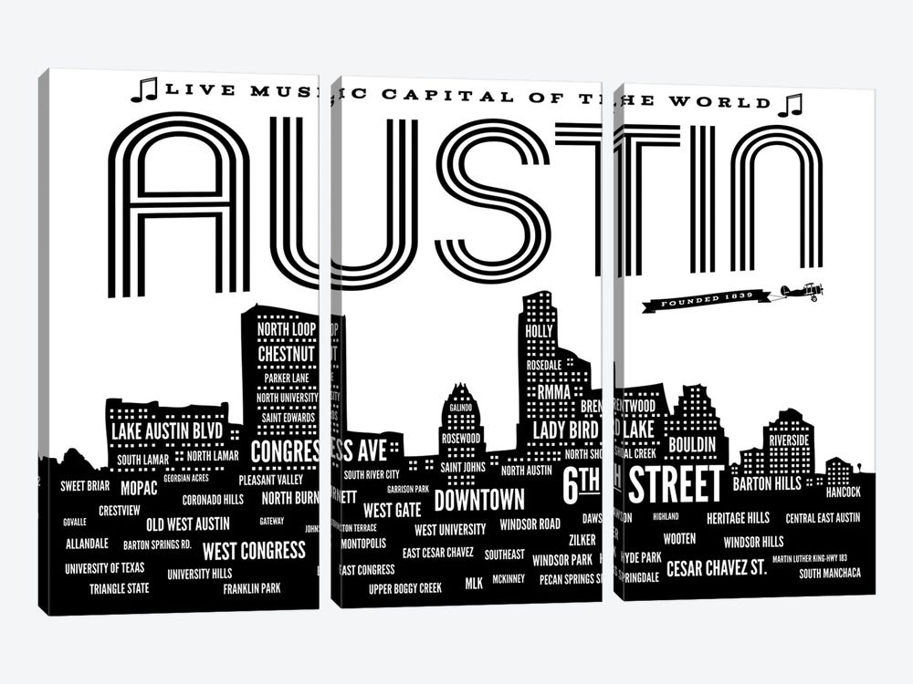 Austin Neighborhoods by Benton Park Prints 3-piece Canvas Art Print