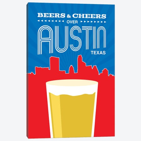 Beers & Cheers Over Austin Canvas Print #BPP210} by Benton Park Prints Canvas Wall Art
