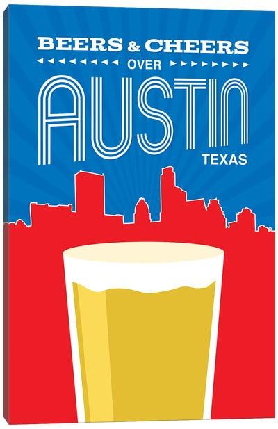 Beers & Cheers Over Austin Canvas Art Print