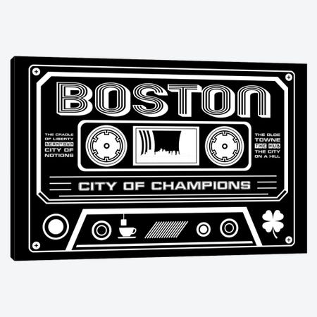 Boston Cassette - Dark Background Canvas Print #BPP218} by Benton Park Prints Canvas Wall Art