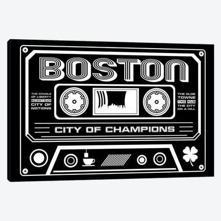 Boston Cassette - Dark Background Canvas Print #BPP218} by Benton Park Prints Canvas Wall Art