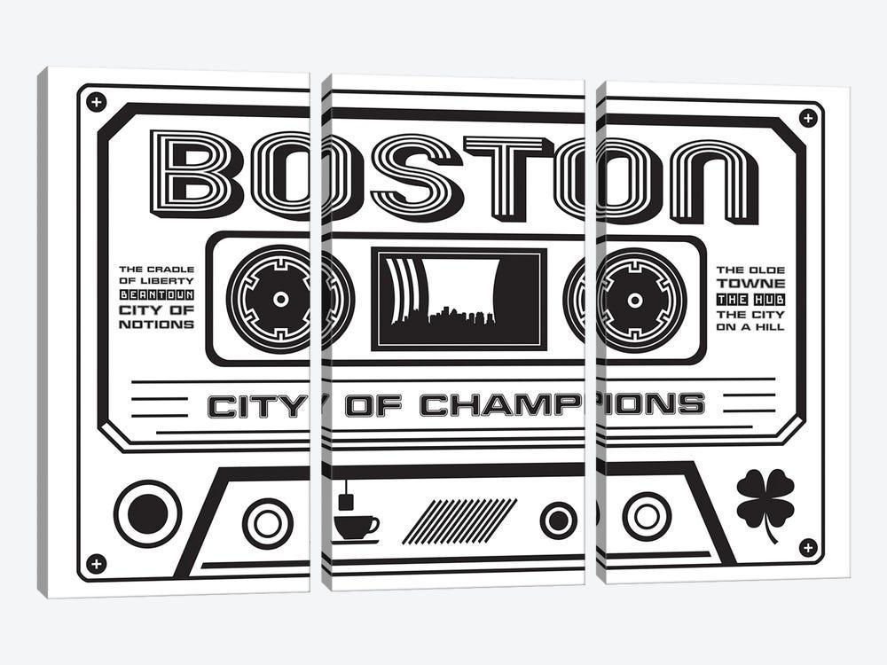Boston Cassette - Light Background by Benton Park Prints 3-piece Canvas Art