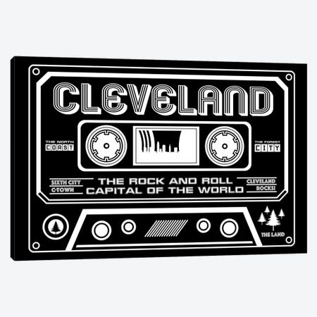 Cleveland Cassette - Dark Background Canvas Print #BPP225} by Benton Park Prints Canvas Wall Art