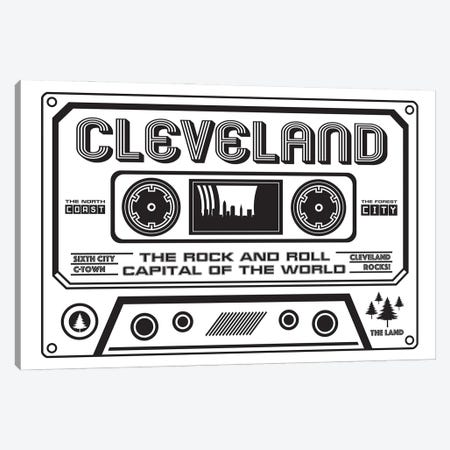 Cleveland Cassette - Light Background Canvas Print #BPP226} by Benton Park Prints Canvas Artwork