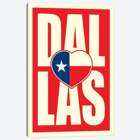 Dallas Typography Flag Heart Canvas Print #BPP234} by Benton Park Prints Canvas Art Print